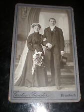 Cdv old photograph wedding bride flowers groom by baader Krumbach Germany c1890s