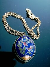 """VINTAGE CLOISONNE DOUBLE- SIDED PENDANT BIRD & LEAF DESIGN WITH 14"""" CHAIN"""
