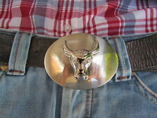 New Men Women Big Silver Metal Western Fashion Belt Buckle Bull Head Face 3D