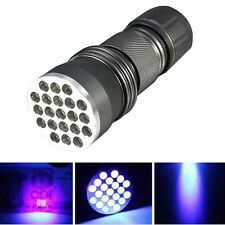 UV Ultra Violet 21 LED Flashlight Mini Blacklight Aluminum Torch Light Lamp NEW