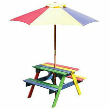Children's Rainbow Wooden Garden Picnic Table Bench Parasol Set Kids