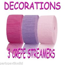 Girls Colour Themed 1st Birthday Party Decorations - Pink Lilac Crepe Streamers