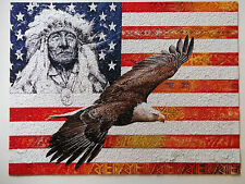 Native American Indian & Bald Eagle Jigsaw Puzzle Patriotic Puzzle Complete