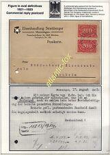 1923 ALLEMAGNE réponse commerciale utilisé carte postale 2 x 200 marque Inflation problème
