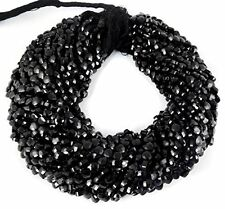 "5 Strand Black Spinel Heart Checker Cutting Faceted Rondelle Beads 5mm 13.5""Long"