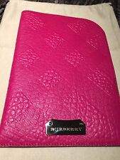 NEW BURBERRY Embossed Check  Fuchsia Leather iPad I  Pad Mini Case Sleeve Pouch