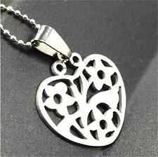Fashion Heart-shaped Silver 316L Stainless Steel Titanium Pendant Necklace NEW