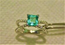 Natural Colombian Emerald diamond Coktail ring 7 14k solid white gold 4.70 gram