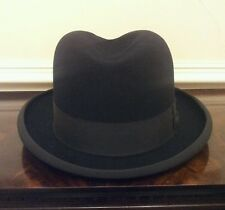Lovely Vintage 1940's Black Fur Felt Homburg Fedora Hat Size 7 or 57cm