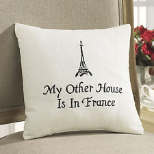 FRENCH PARIS SAYING EMBROIDERED ACCENT PILLOW : BLACK WHITE EIFFEL TOWER TOSS