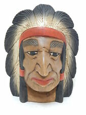 "Wooden Indian Mask Hand Carved Wood  Wall Decor Art  9"" #N2983"