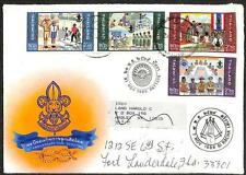 THAILAND TO USA SCOTT B21-24 STAMP SET BOY SCOUTS COVER & LETTER 1986