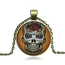 Vintage Cartoon Skull Cabochon Photo Bronze Glass Chain Pendant Necklace #Y322