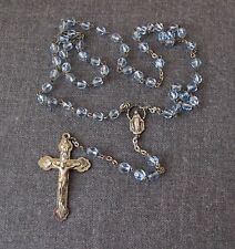ANTIQUE  SKY BLUE CRYSTAL BEADS SILVERED METAL ROSARY  ITALY