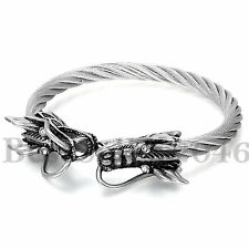 """Vintage Punk Dragon Head Stainless Steel Cable Wire Cuff Bangle Bracelet 6.9"""""""