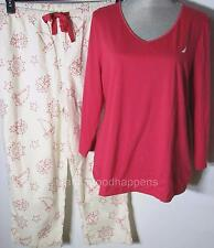 New Nautica 2Pc Pajama Set Knit Top and Flannel Pants Red Ivory Constellation XL
