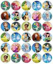 30 x Disney Princess Edible Cupcake Toppers Wafer Paper Fairy Cake Topper