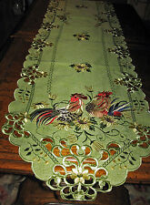 """Rooster Chicken & Sunflower Embroidered Table Runner Sage Green 67""""x 13"""""""
