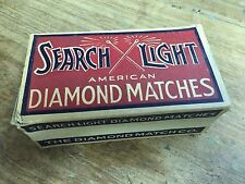 Vintage 1930/40s Search Light Diamond Matches Full Box Unstuck Wooden Matches
