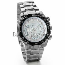 Mechanical Style Business Men's Stainless Steel Date Analog Quartz Wrist Watch