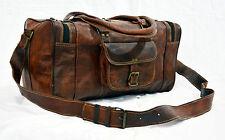 "Mens Leather Vintage Retro Duffel Bag 20"" Unique Travel Gym Man Bag Genuine"