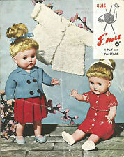 VINTAGE KNITTING PATTERN CUTE DOLL'S CLOTHES FOR 17 INCH DOLL