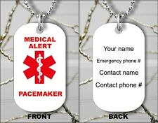 MEDICAL ALERT PACEMAKER EMERGENCY PERSONALIZED DOG TAG PENDANT NECKLACE - hb6y