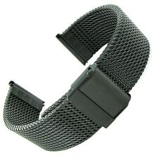 22mm Hadley-Roma Black PVD Straight End Thick Stainless Mesh Watch Band MB3838
