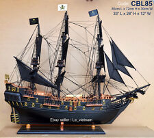 "CBL85 # Black Pearl Caribbean Pirate 85cm ( 33"" ) Wooden Model Tall Ship Boat"
