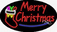 """NEW """"MERRY CHRISTMAS"""" 27x15 OVAL SOLID/ANIMATED LED SIGN w/CUSTOM OPTIONS 24355"""