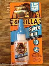 Gorilla Super Glue .53oz 15g Clear Metal Rubber Impact Tough Strong Anti Clog