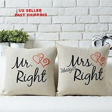 Couple Letters Mr Right and Mrs Always Right Pillow Cushion Cover Set