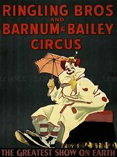 ADVERT EXHIBITION CIRCUS BARNUM RINGLING CLOWN GREATEST SHOW EARTH PRINT LV771