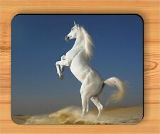 HORSE WHITE STALLION PULLED UP #4 MOUSE PAD -sok8Z