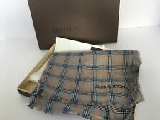 Authentic LOUIS VUITTON Etole Masai Collector's Scarf Checks Gris M74802