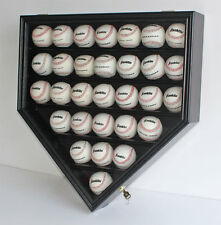 30 Baseball display Case Cabinet, with LOCK , UV Protection door, B30H-BL