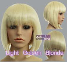 30cm Light Golden Blonde Heat Styleable Chic Bob short Cosplay Wigs 91_LGB