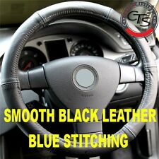 VW PASSAT B5 B5.5 B6 3C BLACK ITALIAN LEATHER STEERING WHEEL COVER BLUE STITCH