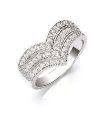 Sterling Silver Pave Set Cubic Zirconia Triple Wishbone Ring