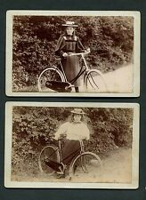 Pair 1890's Outdoor Cabinet Card Photos Girl with Bicycle