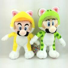 """2X Super Mario Bros 3D World Cat Mario Luigi Yellow Green Suit Soft Plush Toy 9"""""""