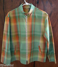 Vintage 1960's Plaid Front Zip Jacket Rockabilly L