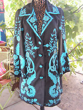 RETIRED Beauty~Western Embroidered Starry Night Duster Coat~L~Vintage Collection