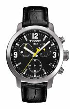 T0554171605700 TISSOT PRC 200 MEN'S WATCH BLACK CHRONOGRAPH BLACK LEATHER STRAP