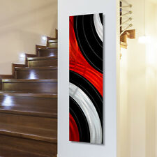Abstract Red/Black/Silver Metal Wall Art Panel - Contemporary Decor by Jon Allen