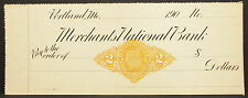 US Check Unlisted Merchants National Bank Documentary Stamp USA Scheck (H-8145