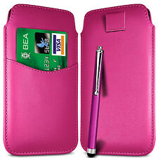 CARD SLOT PU LEATHER PULL FLIP TAB CASE COVER & STYLUS PEN FOR SONY PHONES