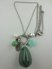 Jade Gemstone Dangling Baroque Pearl/Glass Bead/Charms Pendant Necklace
