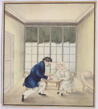 """Drawing lesson"", German watercolor, ca. 1830"
