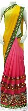 INDIAN ETHNIC BOLLYWOOD REPLICA KUTCHI GAMTHI WORK DESIGNER SAREE SARI